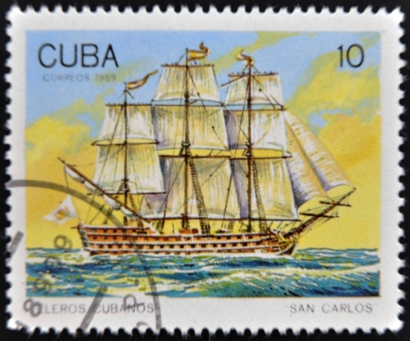 CUBA - CIRCA 1989: A Stamp printed in Cuba shows image of Cubans sailing, San Carlos, circa 1989  Stock Photo - 14137090