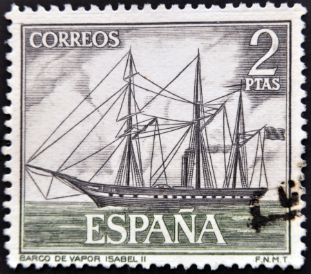 isabel: SPAIN - CIRCA 1964: A stamp printed in spain shows steamship Isabel II, circa 1964