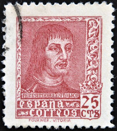 SPAIN - CIRCA 1960: A stamp printed in Spain shows Ferdinand the Catholic, King of Aragon and Castile, circa 1960 Stock Photo - 14137154