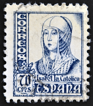 queen isabella: SPAIN - CIRCA 1965: A stamp printed in Spain shows image of Isabella I of Castile, former Queen of Castile and Leon, circa 1965