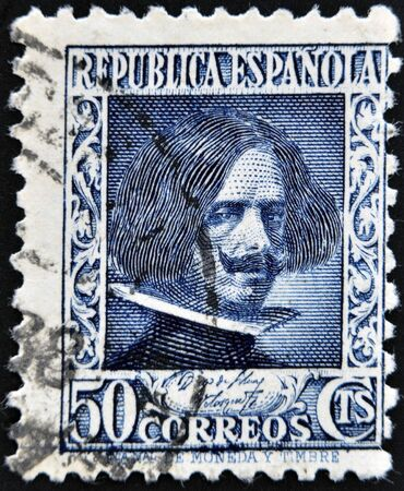 velazquez: SPAIN - CIRCA 1933: A stamp printed in the Spanish Republic, shows Diego Velazquez, circa 1933