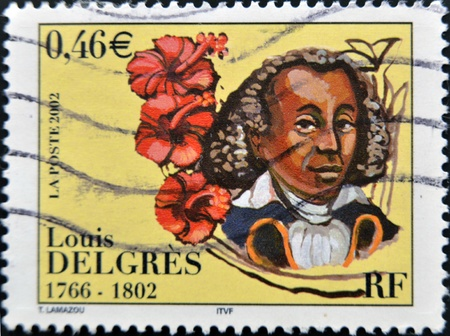 FRANCE - CIRCA 2002 : A stamp printed in France shows Louis Delgres  leader by Napoleonic France, circa 2002