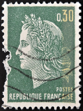 marianne: FRANCE - CIRCA 1967: A stamp printed in France, shows Marianne is a national emblem of France, circa 1967  Editorial