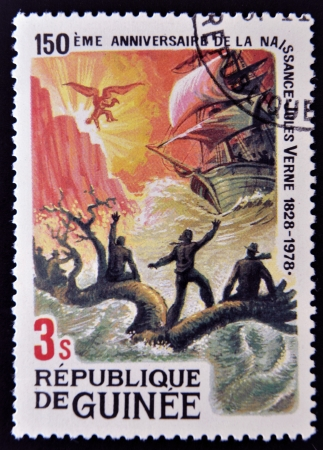 GUINEA - CIRCA 1979: A stamp printed in Guinea shows Jules Verne story, Children of Captain Grant, circa 1979