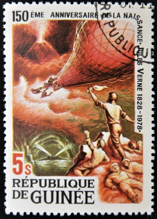 GUINEA - CIRCA 1979: A stamp printed in Guinea shows Jules Verne story, Mysterious Island, circa 1979
