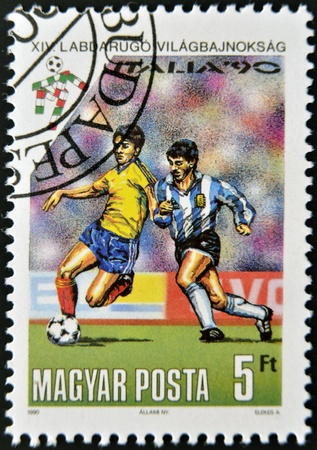 HUNGARY - CIRCA 1990  A stamp printed in Hungary dedicated to the soccer world championship in Italy, circa 1990