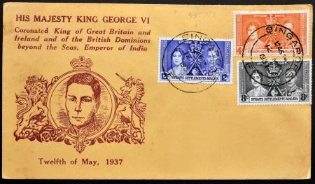 MALAYA - CIRCA 1937 : stamp printed in Malaya showing king George VI Coronation with Elizabeth Bowes-Lyon, circa 1937