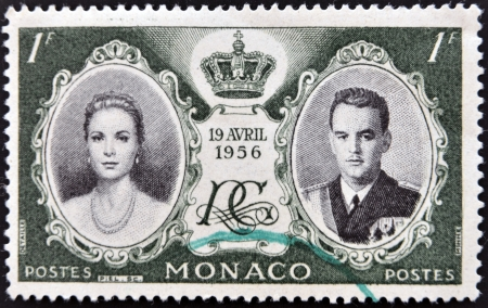 MONACO - CIRCA 1956: stamp printed in Monaco, shows Princess Grace and Prince Rainier III, circa 1956