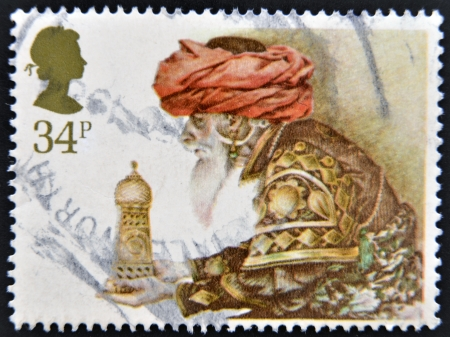 UNITED KINGDOM - CIRCA 1984: A stamp printed in Great Britain shows a Christmas postage stamp with Wise Man and Gift, circa 1984  Stock Photo - 14137214