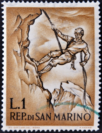 devoted: SAN MARINO - CIRCA 1962: A post stamp printed in San Marino devoted to mountaineering, circa 1962  Editorial