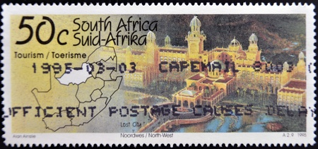 rsa: SOUTH AFRICA - CIRCA 1995: A stamp printed in RSA shows los city north west, (sun city), circa 1995 Editorial