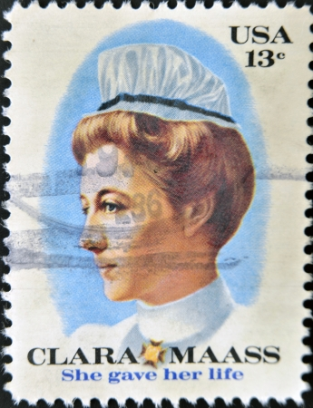 gave: UNITED STATES OF AMERICA - CIRCA 1976  stamp printed in USA shows Clara Mass, she gave her life, circa 1976