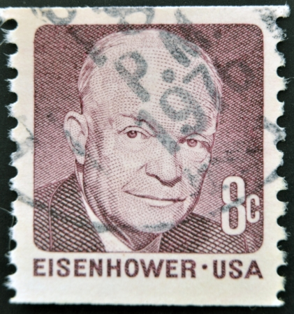 eisenhower: UNITED STATES OF AMERICA - CIRCA 1980  A stamp printed in USA shows image portrait Dwight David  Ike  Eisenhower, circa 1980