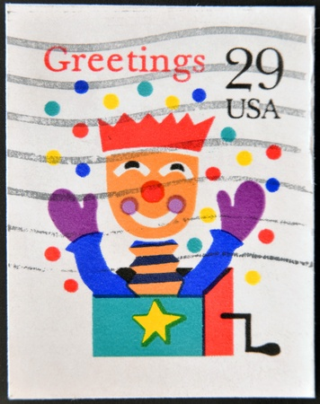 UNITED STATES OF AMERICA - CIRCA 1993  A stamp printed in  USA shows image of a jack-in-a-box, circa 1993  Stock Photo - 14137058