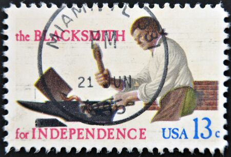 UNITED STATES OF AMERICA - CIRCA 1977   A stamp printed in  USA shows the Blacksmith for independence, circa 1977
