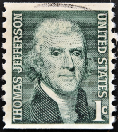 UNITED STATES OF AMERICA - CIRCA 1930  A stamp printed in USA shows image portrait Thomas Jefferson, circa 1930