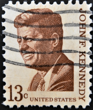 UNITED STATES OF AMERICA - CIRCA 1967  a stamp printed in USA shows John F  Kennedy, 35th President of USA, circa 1967