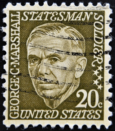 statesman: UNITED STATES OF AMERICA - CIRCA 1967  A stamp printed in USA shows image of George Marshall, circa 1967
