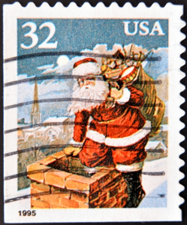 UNITED STATES OF AMERICA - CIRCA 1995  A stamp printed in USA shows Santa Claus, circa 1995