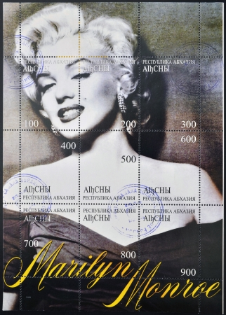 famous women: ABKHAZIA - CIRCA 1999  A stamp printed in Abkhazia  Georgia  shows Marilyn Monroe, circa 1999