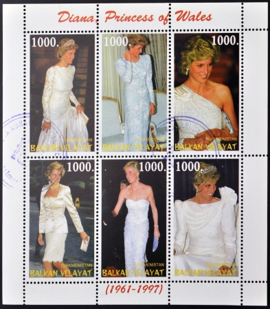 TURKMENISTAN - CIRCA 1998  A stamp printed in Turkmenistan shows Diana, Princess of Wales, circa 1998