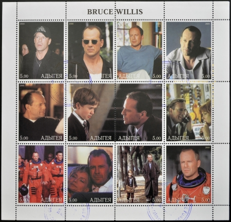 willis: ADYGEA - CIRCA 2000  Collection stamps printed in Republic of Adygea shows Bruce Willis, circa 2000 Editorial