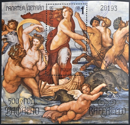 BULGARIA - CIRCA 1984  a stamp printed in Bulgaria shows The Triumph of Galatea, Fresco by the Italian Painter Raphael, Villa Farnesina in Rome, circa 1984