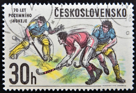 czechoslovakia: CZECHOSLOVAKIA - CIRCA 1978  A Stamp printed in Czechoslovakia shows image of Hockey, circa 1978