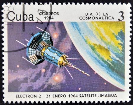 r transportation: CUBA - CIRCA 1984  A stamp printed in Cuba shows  a space ship, Satilite Electron II, circa 1984