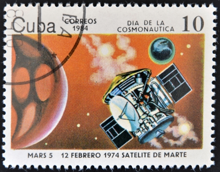 r transportation: CUBA - CIRCA 1984  A stamp printed in Cuba shows a space ship, Satellites of Mars, circa 1984