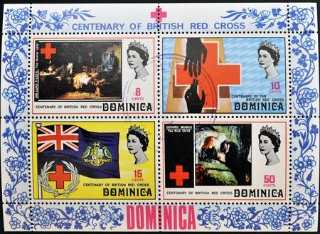 rood kruis: Dominica - CIRCA 1970 Collectie postzegels gewijd aan honderdjarig bestaan van het Britse Rode Kruis, circa 1970 Redactioneel