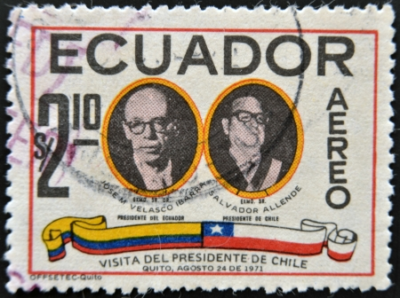 salvador allende: ECUADOR - CIRCA 1971  A stamp printed in Ecuador dedicated to the visit of Salvador Allende, President of Chile to Ecuador, circa 1971