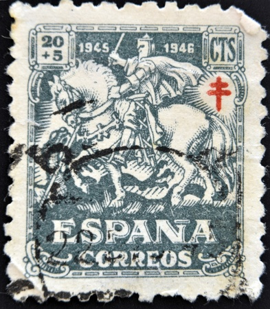 SPAIN - CIRCA 1945  A stamp printed in Spain shows a gentleman of the Crusades, circa 1945 Stock Photo - 14081928