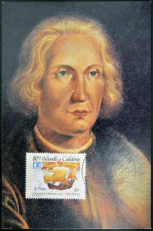 pinta: FRANCE - CIRCA 1992  A stamp printed in New Caledonia dedicated to discovery of America, shows the ship the Pinta and the portrait of Christopher Columbus, circa 1992