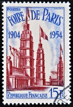 FRANCE - CIRCA 1954  A stamp printed in France shows Paris Fair, circa 1954 Stock Photo - 14081948