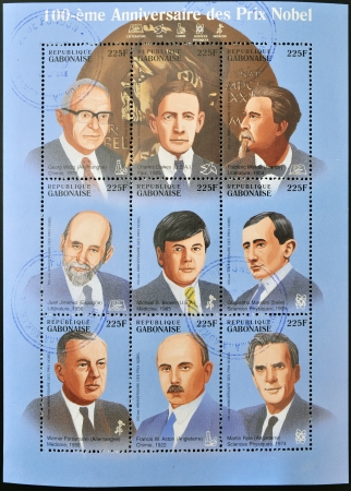 GABON - CIRCA 1985  Collection stamps dedicated to 100 anniversary of the Nobel prizes, circa 1985