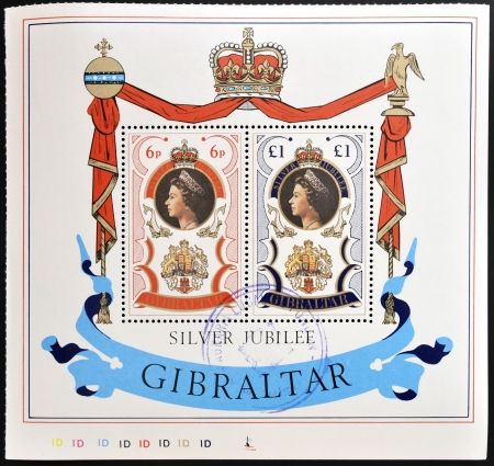 queen elizabeth: GIBRALTAR - CIRCA 1977  A Stamp printed in Gibraltar showing Portrait of Queen Elizabeth  silver jubilee , circa 1977