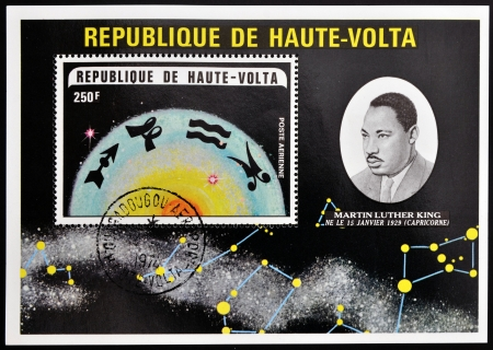 REPUBLIC OF UPPER VOLTA, BURKINA FASO - CIRCA 1974  A stamp printed in Republic of Upper Volta showsMartin Luther King and the constellation of Capricorn, circa 1974