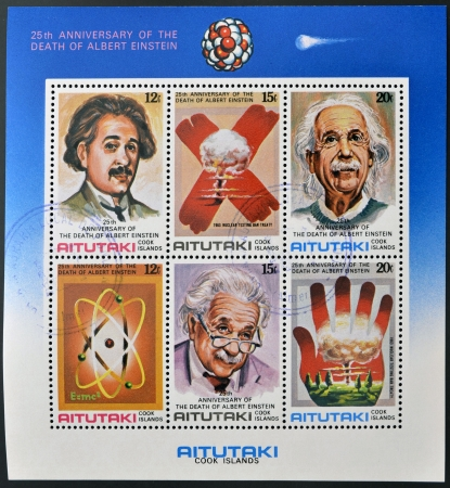 nobel: AITUTAKI  ARAURA , CIRCA 1980  Collection stamps printed in Cook Islands in honor of Mathematician Physicist Nobel Prize Winner Albert Einstein, circa 1980  Editorial