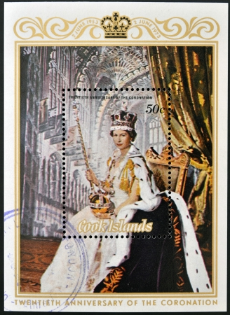 queen elizabeth: COOK ISLANDS - CIRCA 1973  A stamp printed in Cook Islands shows portrait of Queen Elizabeth II  coronation , circa 1975