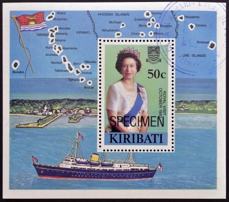 queen elizabeth ii: KIRIBATI - CIRCA 1982  A  stamp printed in the Republic of Kiribati shows royal visit of Elizabeth II in October 1982, circa 1982