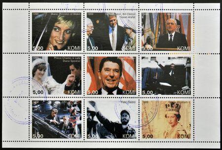 prince charles of england: KOMI - CIRCA 1999  Collection stamp printed in Komi shows Diana, Clinton, Arafat, Rabin, Gorbachev, Ronald Reagen, Nixon, Kennedy, Fidel Castro and Elizabeth II, circa 1999