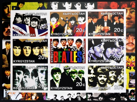 KIRZIGUISTAN - CIRCA 2001  Collection stamps printed in Kirziguistan shows the Beatles, circa 2001 Editorial