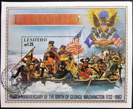 LESOTHO - CIRCA 1982  A stamp printed in Lesotho commemorating the 250 anniversary of the birth of George Washington, circa 1982