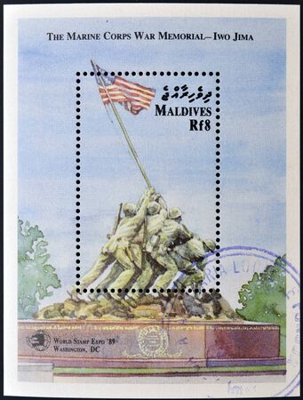 MALDIVES - CIRCA 1989  A stamp printed in Maldives shows Iwo Jima Memorial, circa 1989  photo