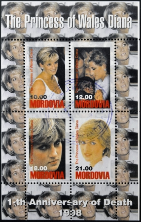 MORDOVIA - CIRCA 1998  Collection stamps printed in Mordovia shows the princess of Wales, Diana, circa 1998