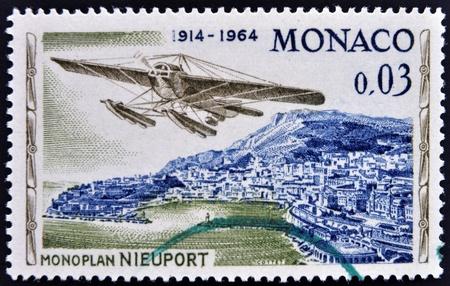 MONACO - CIRCA 1964  stamp printed in Monaco, shows Nieuport monoplane, circa 1964  photo