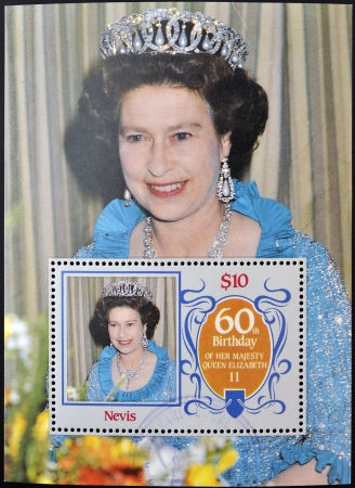 the majesty: NEVIS - CIRCA 1986: a stamp printed in Nevis shows Her Majesty the Queen Elizabeth II, sixtieth birthday, circa 1986  Editorial