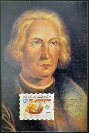 FRANCE - CIRCA 1992: A stamp printed in New Caledonia dedicated to discovery of America, shows the ship the Santa Maria and the portrait of Christopher Columbus, circa 1992 Stock Photo - 14144962