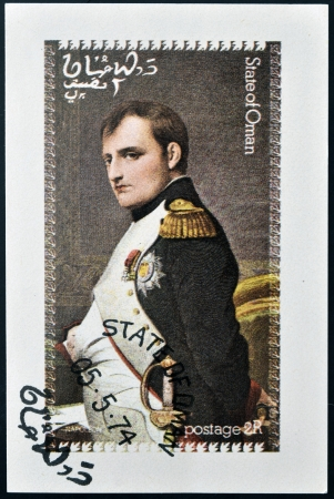 OMAN - CIRCA 1974: A stamp printed in Oman shows portrait of Napoleon, circa 1974